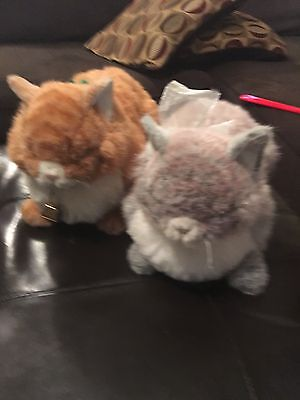 "2 RARE Avanti Applause Gray Tabby Cat + Yellow Cat Jockline Italy 1985 15"" Plush"