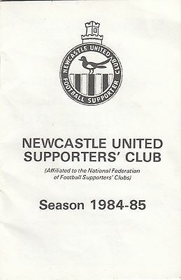 Newcastle United Supporters Club 1984/5 - Membership & Fixture Book