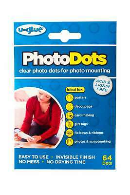 36 x U-Glue Thin Photo Glue Adhesive Dots Permanent 64 per pack 10mm dia 200352