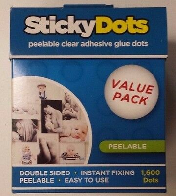 6 x U-Glue Sticky Dots Peelable Adhesive Value Pack 1600 x 10mm