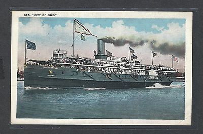 mjstampshobby US Post Card Steamer City Of Erie VF Cond Vintage RARE (Lot1458)