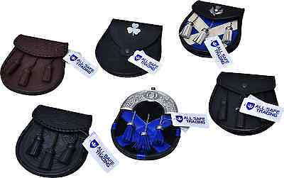 Scottish Men's Leather Kilt Sporran Various Styles/Boy Kilt Sporrans
