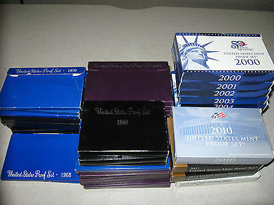 U.S. Proof Sets Lot, 41 Different Years, All in Great Condition, Original Boxes