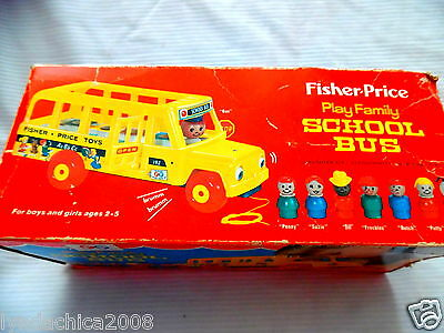 Vintage Play Family School Bus Playset By Fisher Price 1965