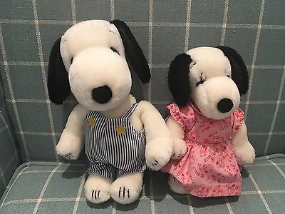 """Vintage 1968 Snoopy And Belle 10"""" Soft Toys With Original Outfits Labels Attache"""