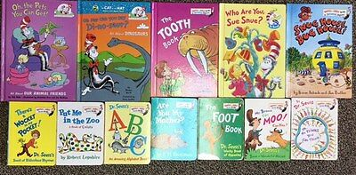 Dr. Suess  lot of 12 HC and Mini Board Books: Tooth Book, Wocket Pocket etc.