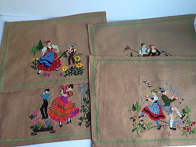 Set of 4 Vintage Needlepoint Hand Embroidered Couples Placemats Folk Art