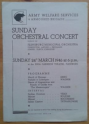 Army Welfare Services Sunday Orchestral Concert programme 24th March 1946