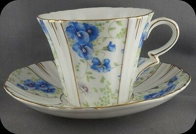 Vintage Royal Albert Deco Blue Pansy Chintz Cup and Saucer Circa 1935