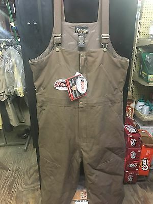Rocky Tuff Insulated Bibs, Waterproof Work Overalls, 2X Brown Duct, 12oz Cotton
