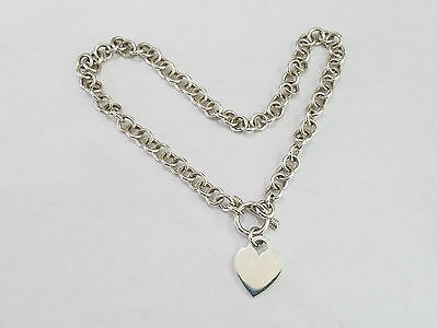 "Sterling Silver Heart Tag Toggle Chain Link Necklace 16"" - 4542"