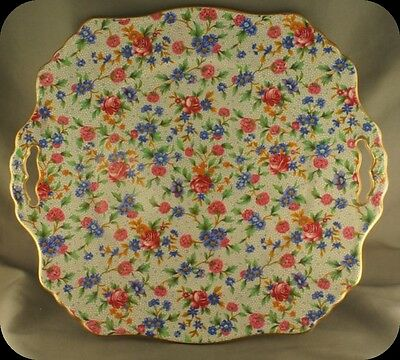 Vintage Royal Winton Grimwades Chintz Old Cottage Handled Cake Plate
