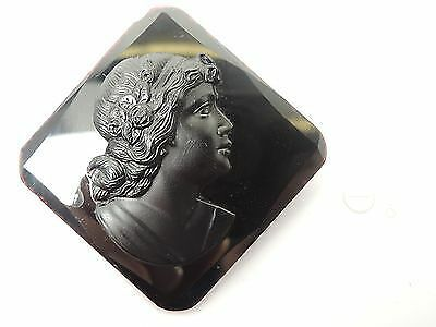 Victorian CZECHOSLOVAKIA Black Glass Mourning Cameo Pin Brooch