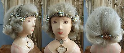 c1911 EXCEPTIONAL ORIGINAL LADY´S HORSE HAIR WIG W STUNNING HEADBAND & PEARLS