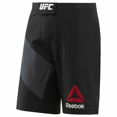 New UFC Reebok Octagon Official Fight Shorts - Black/Grey Green