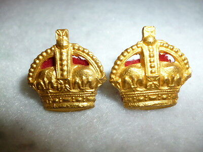 WW1 / WW2 Pair of Mess Dress King's Crown Rank Crown Badges for a Major