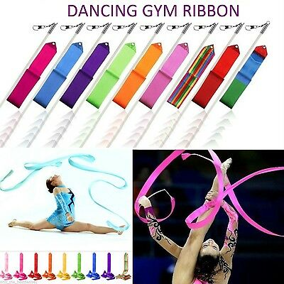 Gym Gymnastics Rhytmtic Art Dancing Ribbons 10 Colors Baton Twirling Rods