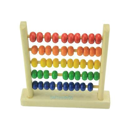 Wooden Abacus 5-row Colorful Beads Counting Kids Maths Learning Educational Toys
