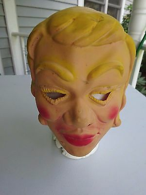 Old  Rubber Halloween Mask, Blonde Woman