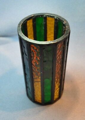 "Vintage Stained Glass Round Candle Holder with Metal Frame Cylinder 6.5"" x 3.25"""