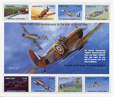 Grenada 1995 MNH WWII VE Day 50th End World War II 8v M/S Fighter Planes Stamps