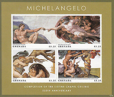 Grenada 2013 MNH Michelangelo Sistine Chapel Ceiling 4v M/S Art Paintings Stamps