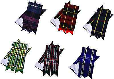 Scottish Kilt Sock Flashes various Tartans/Highland Kilt Hose Multi Flashes