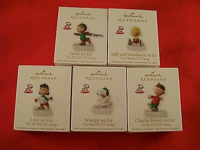 PEANUTS set of 5 RARE Hallmark Miniature Keepsake Ornaments MINT & NEW!!