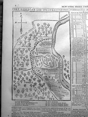 1862 Civil War newspaper w detailed Map & news BATTLE of FORT DONELSON Tennessee