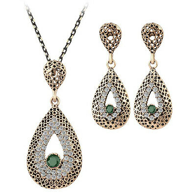 Teardrop Hurrem style necklace and earrings with CZ women's 2 Pc hot jewelry set