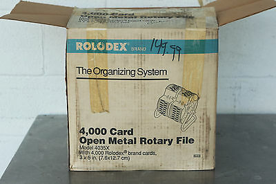 Vintage Rolodex 4035X 4000 Card Open Metal Rotary File Organizing System Nos