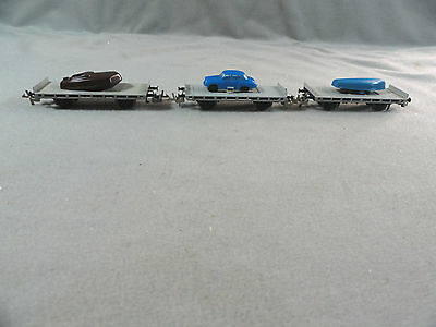 Vintage Zeuke TT HO Scale Lot (3) Flat car Wagon  with Boat and Automobile Load