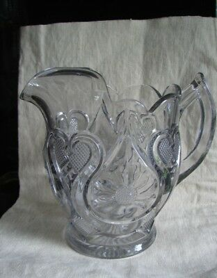 1908 Clear New Martinsville Glass EAPG Horseshoe Daisy Pitcher Beverage Water