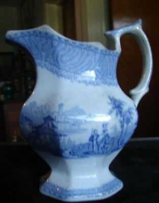 19thC Blue White English Transfer Ironstone Cream Pitcher Man Lady Ox Landscape