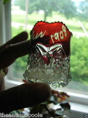 1908 Mother EAPG Ruby Stained Button Arches Pattern Glass Toothpick Holder