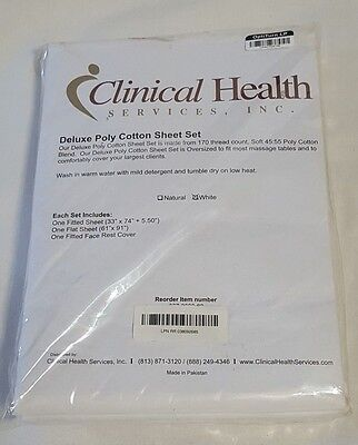 New Wht Clinical Health Deluxe Poly Cotton Massage Table Sheet Set 170 Thread Ct
