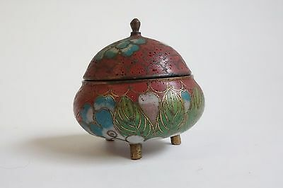 Antique Vintage Cloisonné Footed Small Jar w/ Cover Lid Mustard Pot Salt Cellar