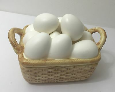 "Fitz & Floyd Ceramic ""Basket Of Eggs"" Square Dish With Lid  RARE"