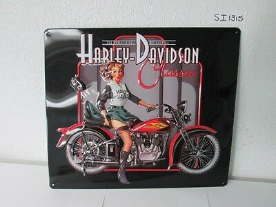 OEM Harley-Davidson Classic Pin Up Babe Metal Tin Sign Embossed New Bar Shop Gar
