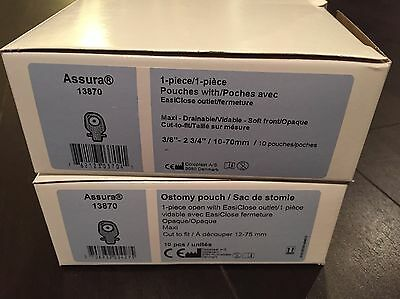 Coloplast Assura 2 Boxes, Total Qty 20 Ostomy Pouch (13870)