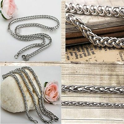Womens 3/4/5/6MM 18-36inch Rope Tone Mens Necklace Braided Stainless Silver
