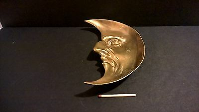Vintage quality brass half moon face trinket tray or ashtray space shiny EXC