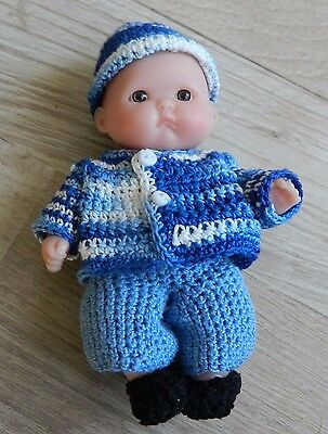 "Berenguer Tiny 5"" Baby Doll Realistic Life Like Brown Eyes with crocheted outfit"