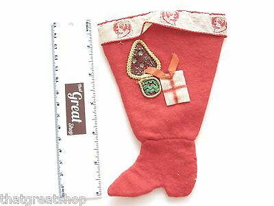 Vintage Red Felt Hand Made Christmas Stocking Shoe Dog trim pre 1940 about 6 in.