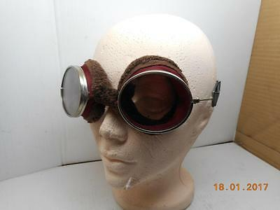Fur Lined Motorcycle,aviator Flying Goggles W/glass Lenses