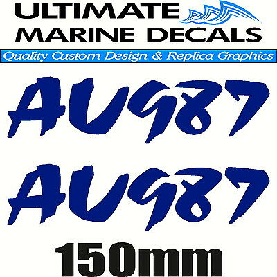 Boat Rego 150mm Modern Registration Sticker Decal Set of 2