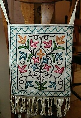 Kashmir India Handmade Embroidered Cotton Tote Bag