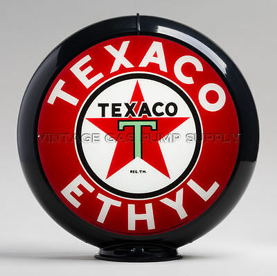 "Texaco Ethyl 13.5"" Gas Pump Globe w/ Black Plastic Body (G194)"