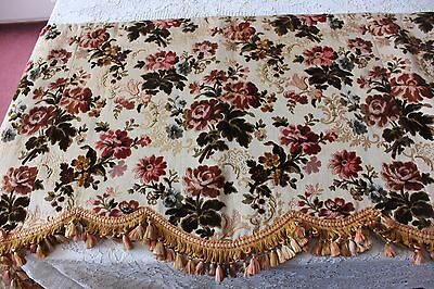 "Stunning Old French Floral Antique c1870 Silk Cut Velvet Valence~L-21""X W-84"""