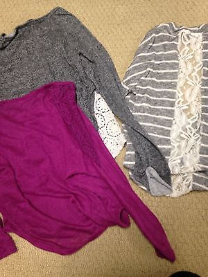 3 PC Girls/Juniors Lot of Delia's L/S Lace Detail Tops Size S/M